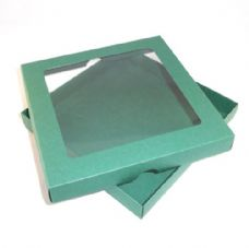"9"" x 9"" Green Invitation Boxes With Aperture Lid"